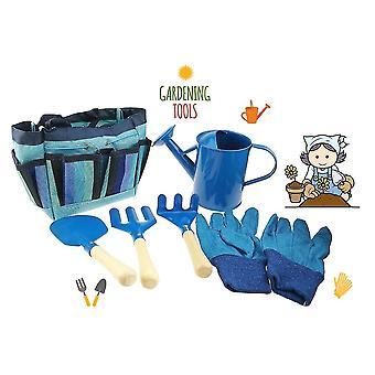 כלי גינון כחול לילדים כוללים השקיה יכול כפפות לגרוף מזלג dt6785
