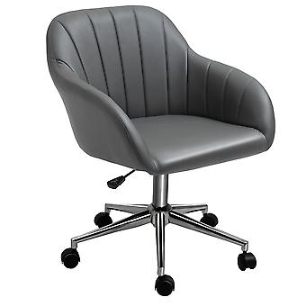 Vinsetto PU Leather Mid-Back Tub Office Chair Ergonomic Work Seat Adjustable Padded w/ Wheels Study Living Room Bedroom Lounge Grey