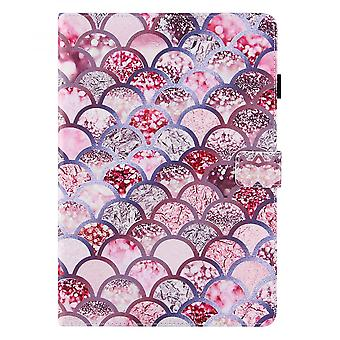 """Case For Ipad 9 10.2"""" Generation 2021 Cover Auto Sleep/wake Rotating Multi-angle Viewing Folio Stand - Pink Fish Scales"""