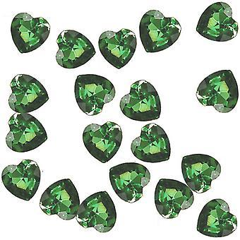 86 Akryl 12mm Diamante Hjerte Bord Scatter for Bryllup og Fester - Emerald Green