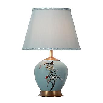 Fine Asianliving Lampe de table chinoise Porcelaine Bleue Peinte à la main avec abat-jour