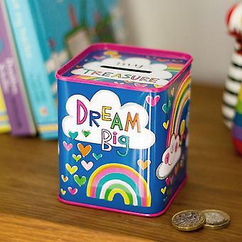 Pengeboks tinn - regnbuer og skyer barnegave