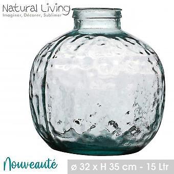 Louise Round Recycled Glass Vase 15L