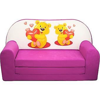 Sofá cama infantil - sofá - rosa - colchão adormecido - 85 x 60 - ursos