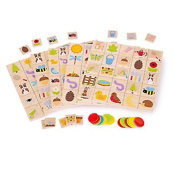 Pretend lawn garden educational wooden garden bingo - matching board game