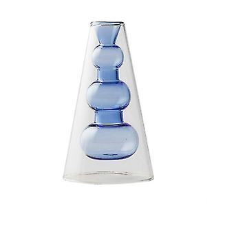 Nordisk design kreativ dubbelmålad glas dekor vaser (Blå)