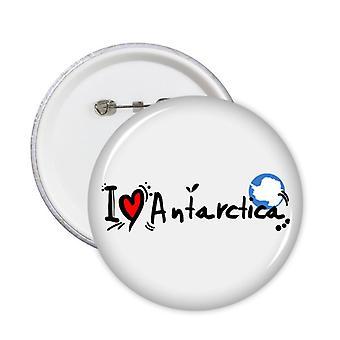 אני אוהב את אנטארקטיקה Word דגל תג כפתור 5pcs