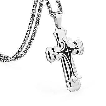 Bible Silver Color Jesus Cross Stainless Steel Pendants Necklaces Byzantine Long Chain Necklace For Men Jewelry Colar