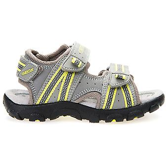 Garçons de Geox Strada J4224A sandales gris Lime