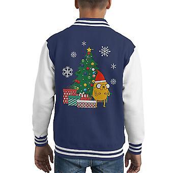 Adventure Time Jake Christmas Tree Kid's Varsity Jacket
