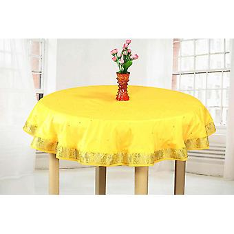 Yellow - Handmade Sari Tablecloth (India) - Round