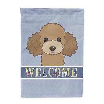 Chocolate Brown Poodle Welcome Flag Canvas House Size