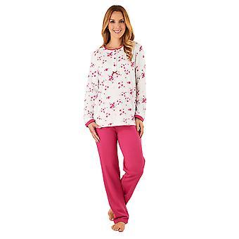 Slenderella PJ8137 女性のピンクの花柄パジャマ長袖パジャマ セット