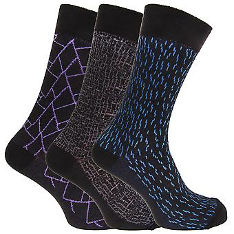 Angelo Cavalli Mens Abstract Patterned Elastic Top Socks (3 Pairs)
