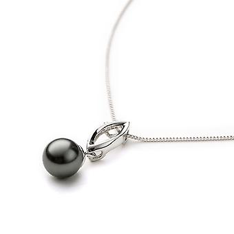 Pearl Grey Crystal pendant and white gold plated 2075