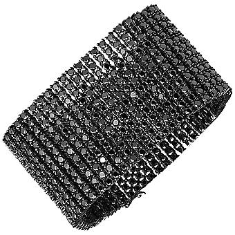Iced Out Bling Hip Hop Armband - RAPPER 12 ROW schwarz