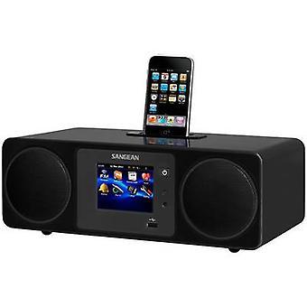 Sangean WFR-2D Internet Desk radio DAB +, FM Apple Universal dock, AUX, Internet radio, USB pekskärm, DLNA-kompatibel svart