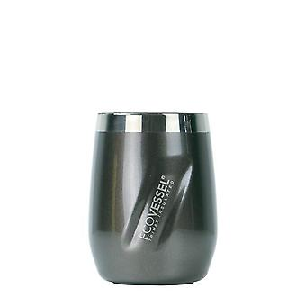 EcoVessel EcoVessel PORT Wine Tumbler with Lid - Grey Smoke Painted 10 oz