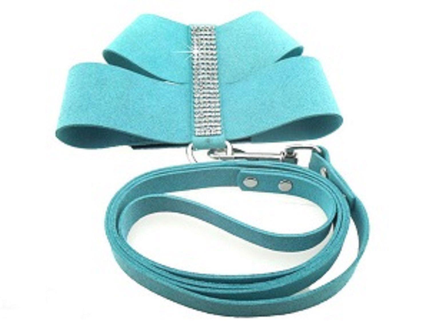 Bling Vest Suede Dog Harness & Lead Set