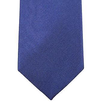 Knightsbridge Neckwear Plain Diagonal Ribbed Tie - Deep Blue