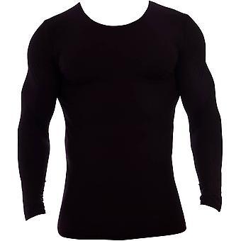 Natürlich Essence Rundhalsausschnitt Langarm Unterhemd - schwarz
