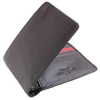 David Van Hagen 8 Card Stripe Bifold Wallet - Black/Red