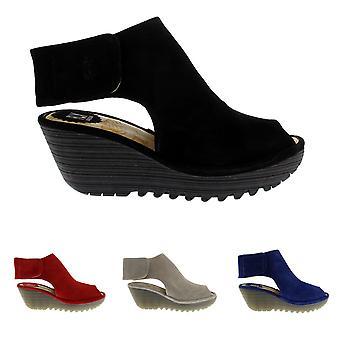 Womens vliegen Londen Yone Suede Peep Toe wig hiel vakantie zomer schoenen