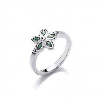 Cavendish francia ezüst és a Moss zöld CZ virág Ring