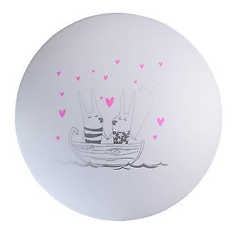 Glasberg - White Children's Led Flush Ceiling Light With Printed Boat Design 365015901