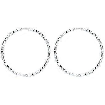 Bella 20mm D Cut Hoop Earrings - Silver