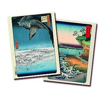 Hiroshige Kunstdruck 2er-Set Papier 250 gr. matt The Coast At Hota In Awa Province und Fukagawa Susaki and Jumantsubo 80 x 60 cm