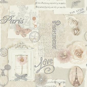 Arthouse Felicity Floral Pattern Paris Music Notes Motif Wallpaper Cream