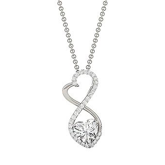 Sterling Silver Moissanite by Charles & Colvard 6mm Heart Pendant Necklace, 0.95cttw DEW