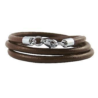 Lederkette 4 mm Herren Halskette braun 17-100 cm lang mit Karabiner Verschluss Silber Rund