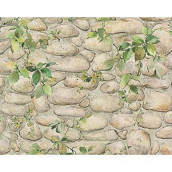 Blad Floral baksteen Effect Wallpaper natuursteen leisteen getextureerde reliëf wit Beige