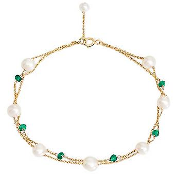 Pearls of the Orient Fine Double Chain Freshwater Pearls and Emerald Bracelet - Green /White/Gold
