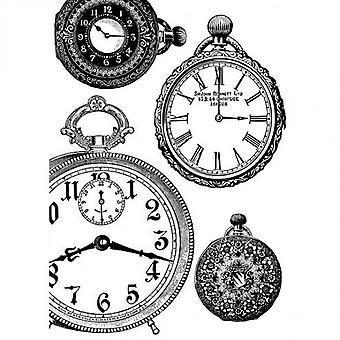 Papier de riz Stamperia A4 Noir & Horloges blanches