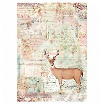 Stamperia Rice Paper A4 Pink Christmas Reindeer