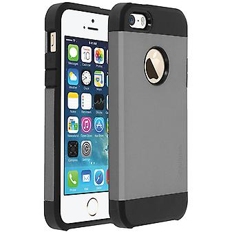 Armor hybride bescherming Case voor iPhone 5/5S/SE, Shock aborbing case - grijs