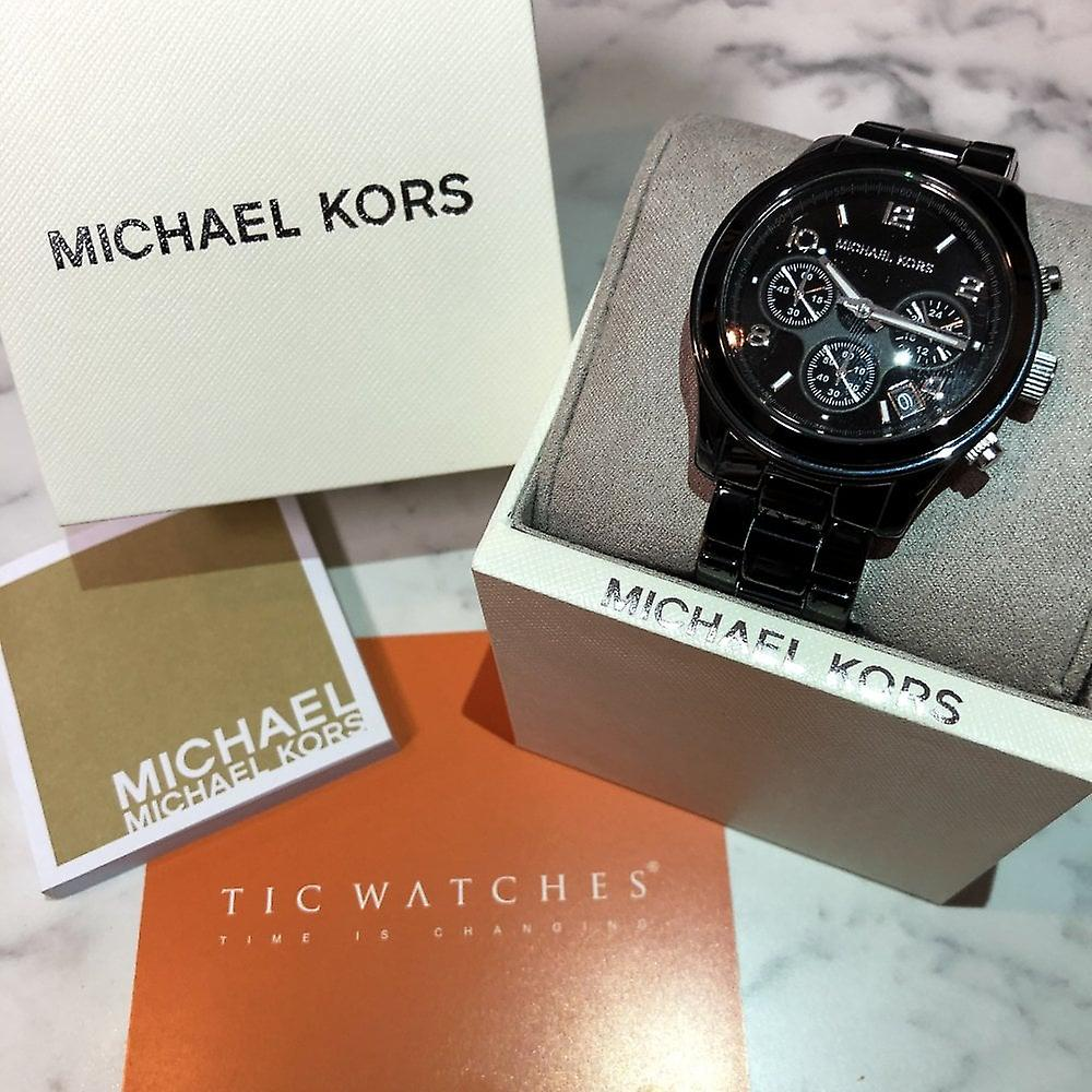 مايكل Kors ساعة Mk5162 مدرج كرونوغراف اسود خزفي سيده ساعة