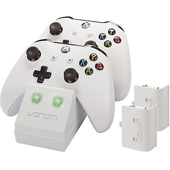 Twin docking station with 2 x rechargeable battery packs: white (xbox one)