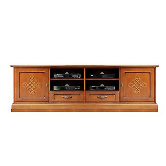Wood TV furniture with engravings