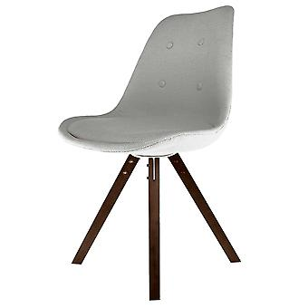 Fusion Living Eiffel Inspired Light Grey Fabric Dining Chair With Square Pyramid Dark Wood Legs