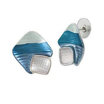 Eternal Collection Cavalcade Blue Multi Enamel Silver Tone Stud Pierced Earrings