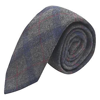Grau & Blau Karo Krawatte, Tweed, Tartan, kariert
