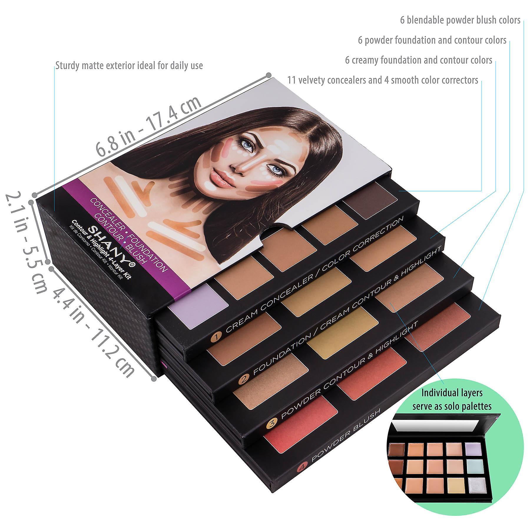 SHANY 4-Layer Contour and Highlight Makeup Kit - Ensemble de Concealer/Color Corrector, Foundation, Contour/Highlight, et Blush Palettes