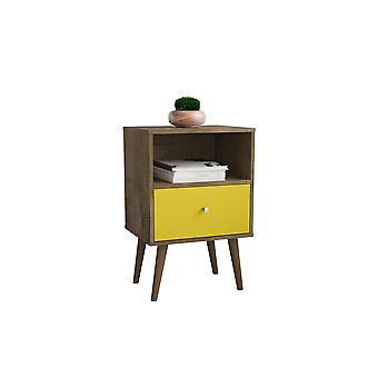 Manhattan comfort  liberty mid century - modern nightstand 1.0 with 1 cubby space and 1 drawer in rustic brown and yellow