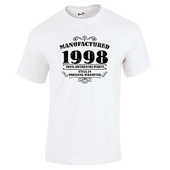 Mannen ' s 21e verjaardag T-shirt vervaardigd 1998 nieuwigheid giften voor hem