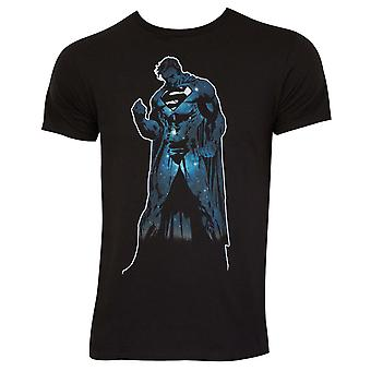 Superman Outer Space Silhouette Black Tee Shirt