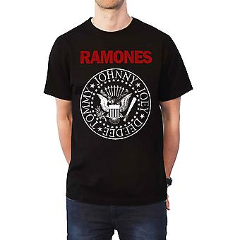 Ramones T Shirt Red Text Presidential Seal Band Logo new Official Mens Black
